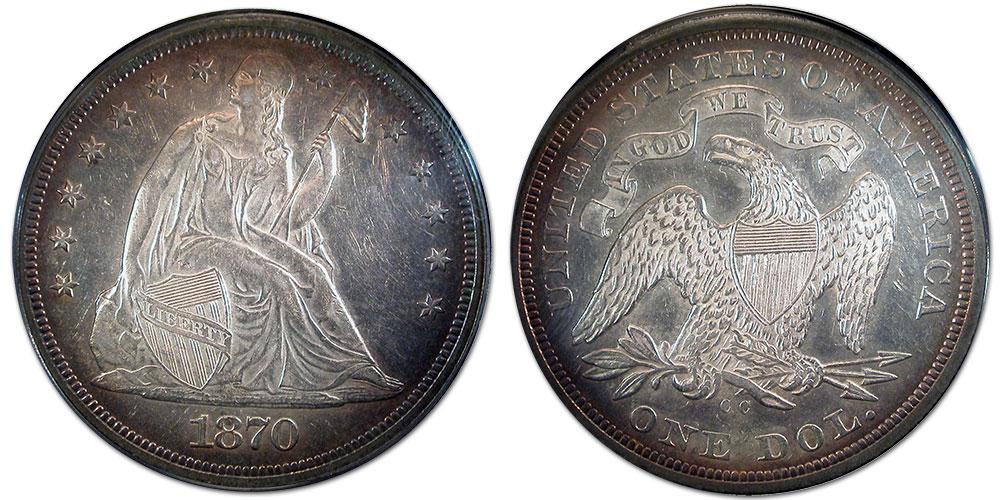 A beautiful 1870-CC Seated Liberty silver dollar at Southgate Coins