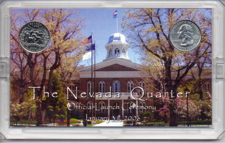 The obverse of a Nevada Statehood quarter souvenir set