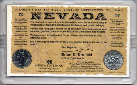 The reverse of the souvenir set for the Nevada Statehood Quarter
