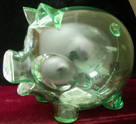 A souvenir piggy bank from the Nevada Statehood quarter release