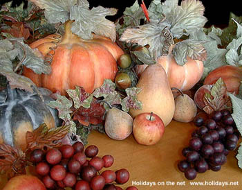 Autumn fruit & vegetable decorations at Southgate Coins