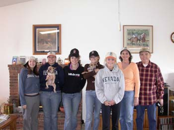 Southgate Coins staff gathers at the Goes' house for a horserace