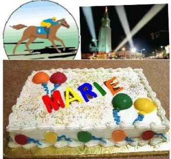 Coin shop owner Marie Goe's birthday cake and Breeder's cup celebration