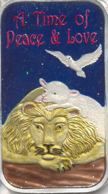 A Silver ingot with colored enamel, in stock at Southgate Coins for the holiday season
