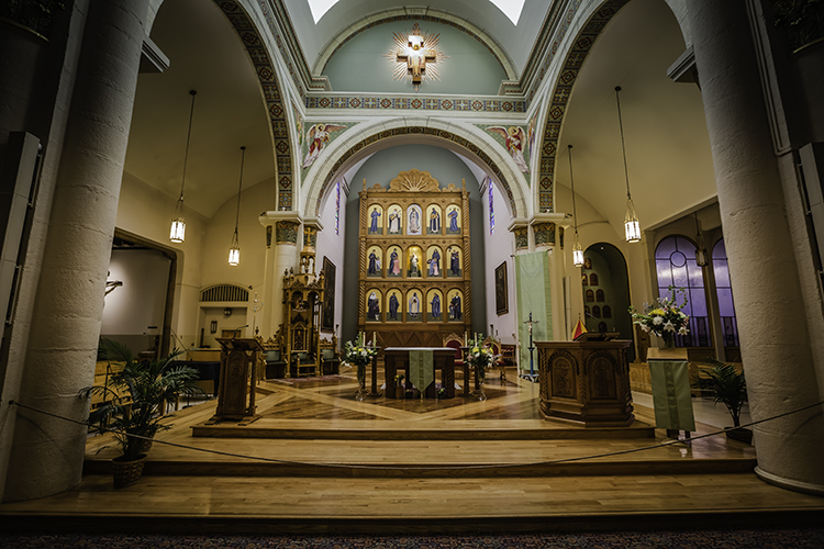 Inside Cathedral Basilica of Saint Francis of Assisi, Santa Fe, New Mexico.
