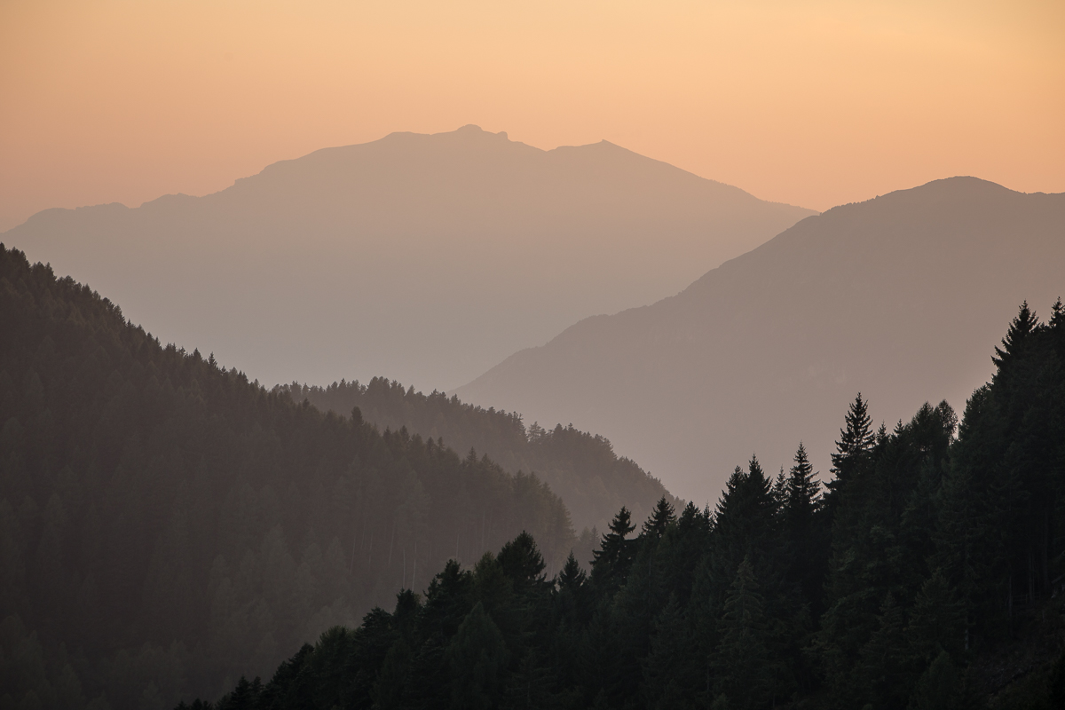 image 3 : with a strong focus on the shapes and form this final view is more abstract yet still provides scale and the warm hues of a mountain sunset.