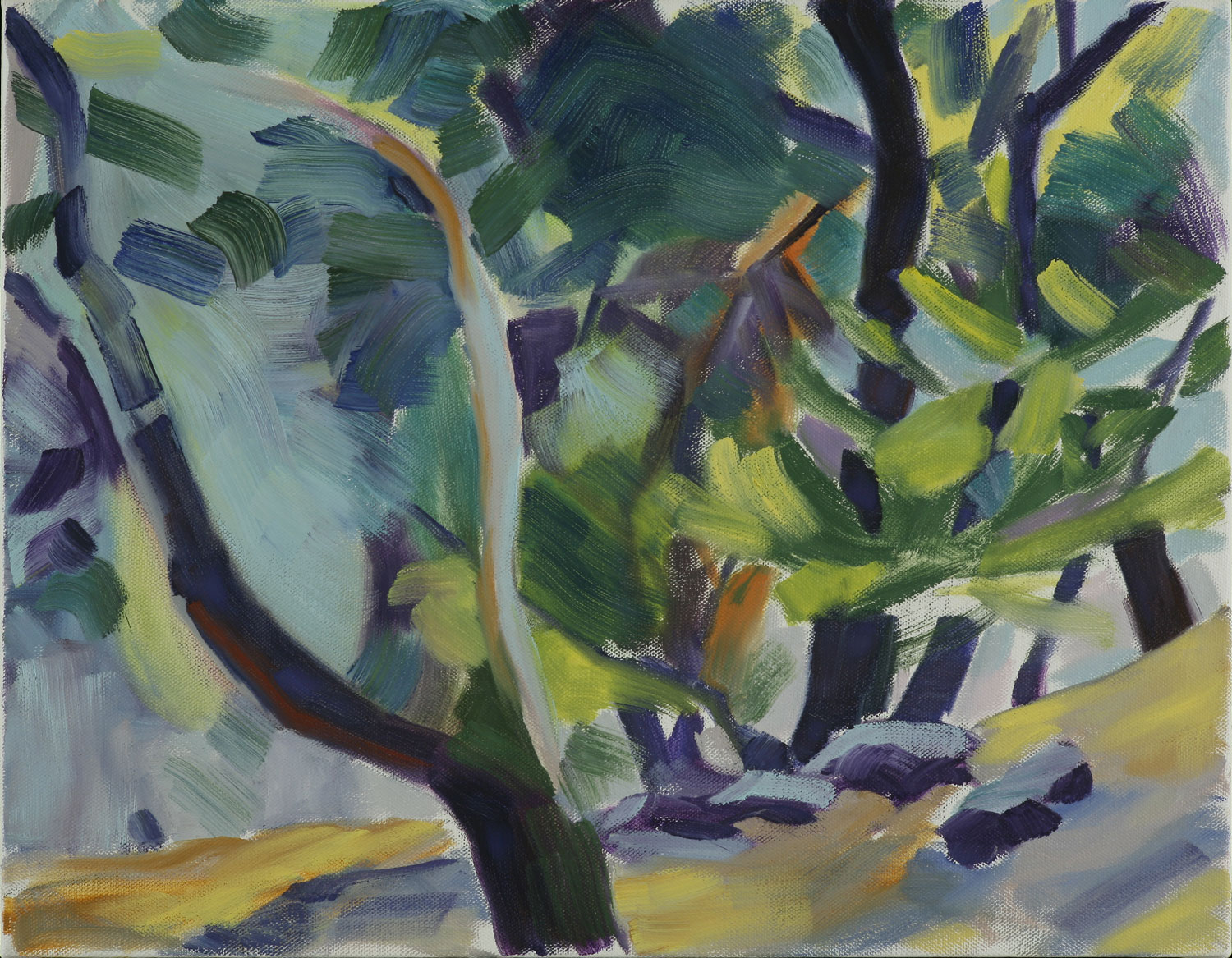 Windy Trees , 2010, oil on canvas, 18 x 14""