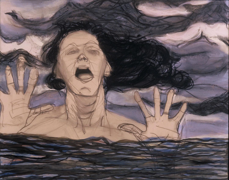 "Katya Kabanova , 34 x 29 "", Galkyd, Charcoal on Drafting Film, featured in SF Opera Magazine, Nov 2003"