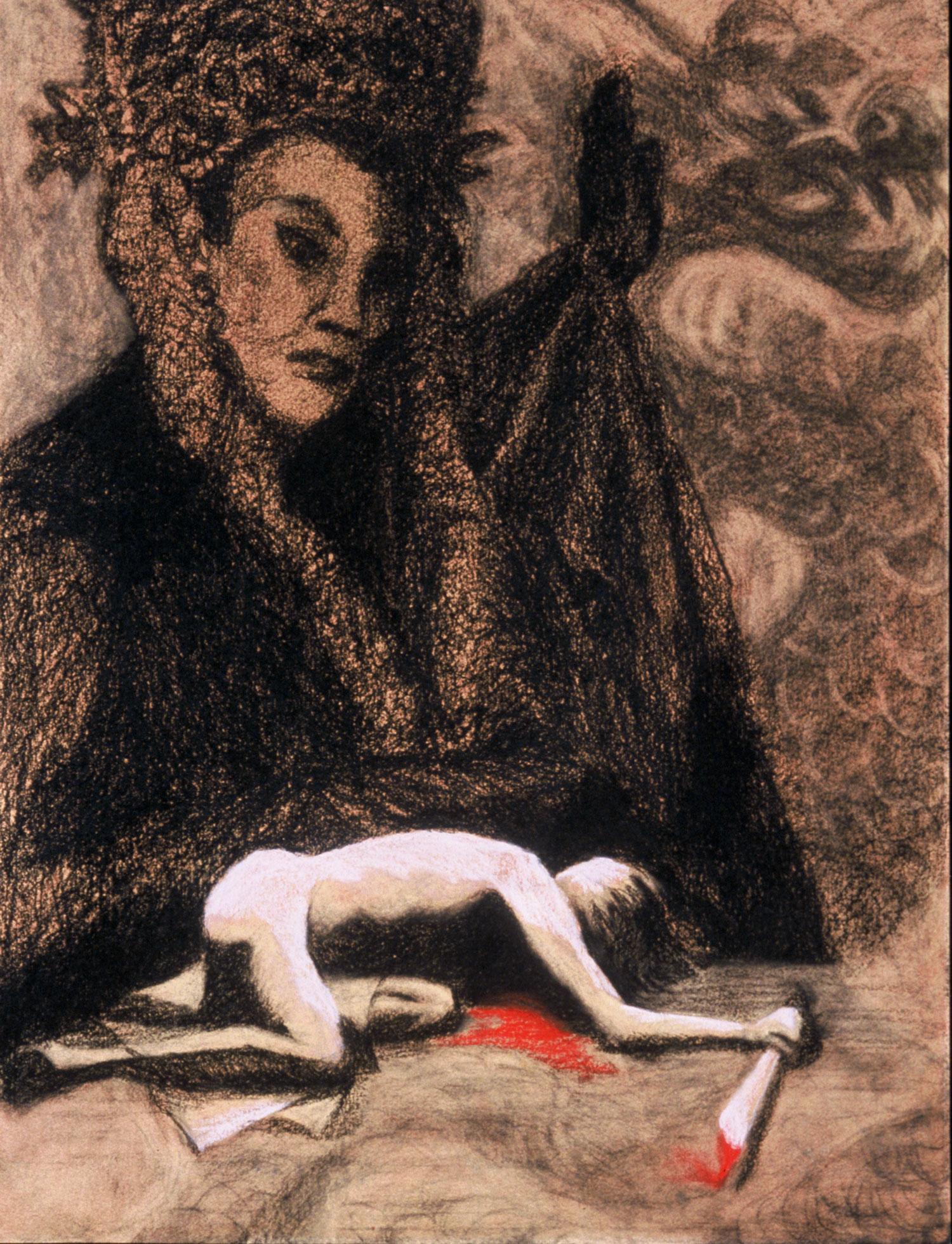 "Aida's Jealousy , 24 x 18"", Pastel on Paper, 2003"