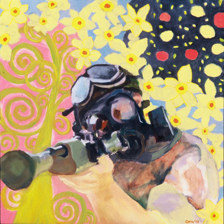 "Machine Gun Paradise , 16 x 16"", Oil on Board, 2007"