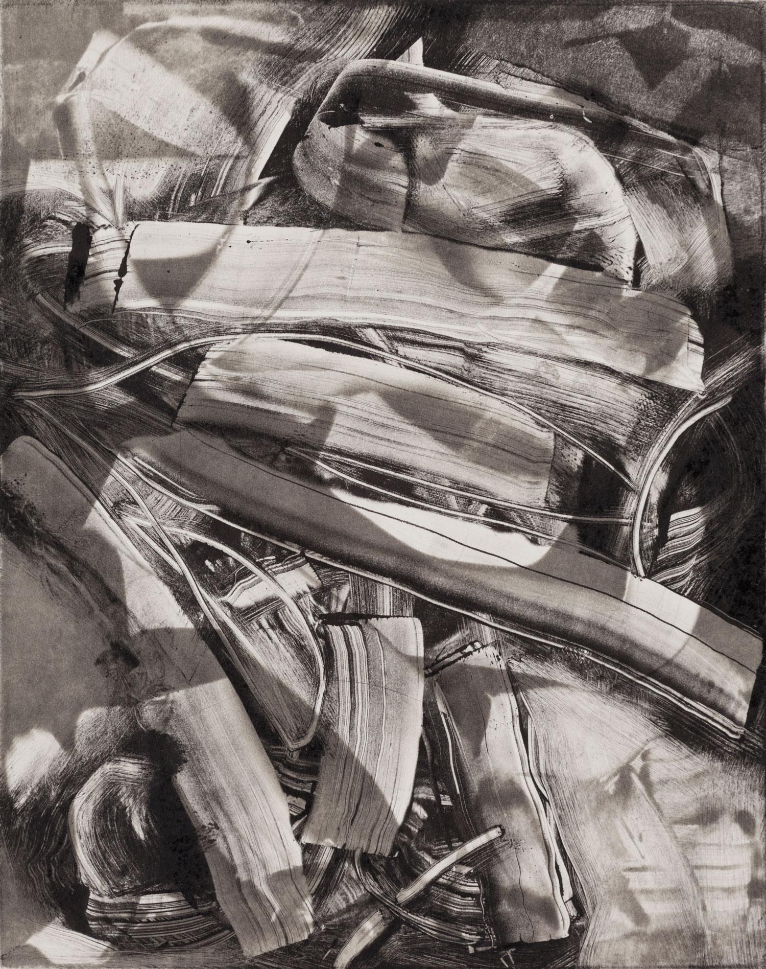 "Chorus of ancestors , 2013, monoprint, 8 x 10"""
