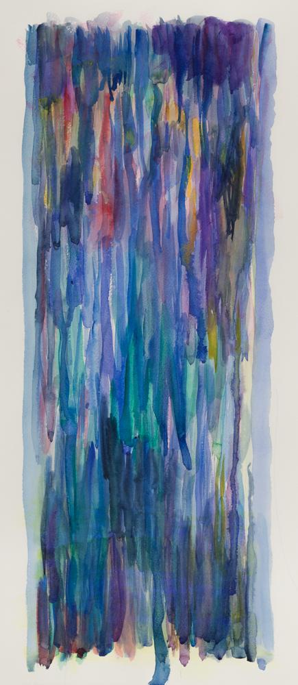 "Blue rain , 2014, watercolor on paper, 18 x 24"""