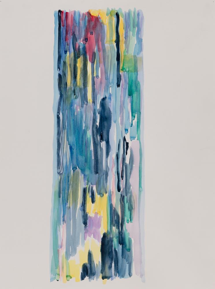 """Yellow Rain , 2014, watercolor on paper, 18 x 24""""   return to menu"""