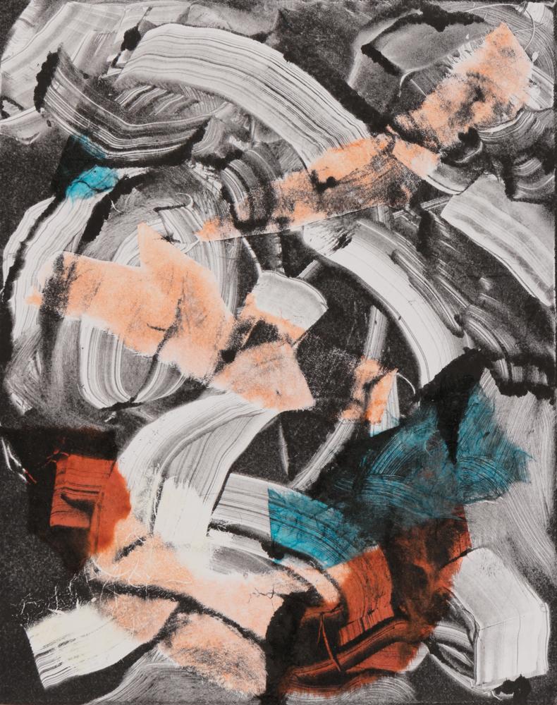 "Tangerine, 2013, monoprint with collage, 8 x 10"""
