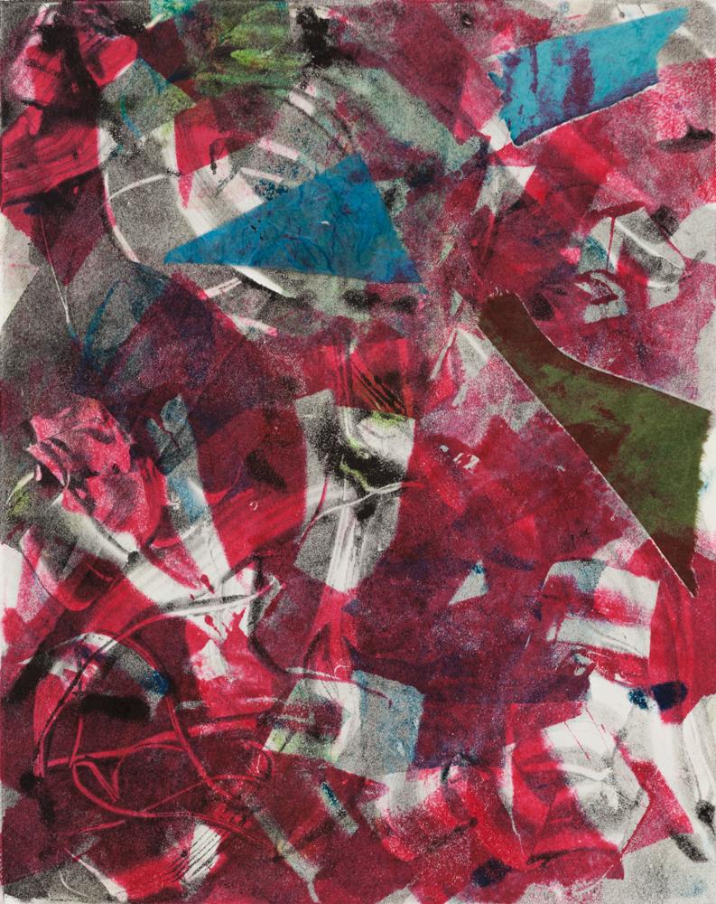 "Sayuri , 2013, monoprint with collage, 8 x 10"""