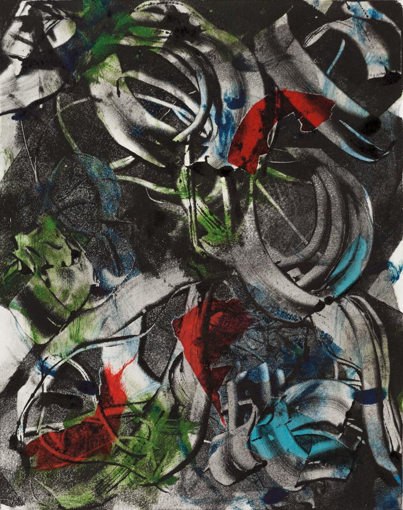 "Black Peony , 2013, monoprint with collage, 8 x 10"""