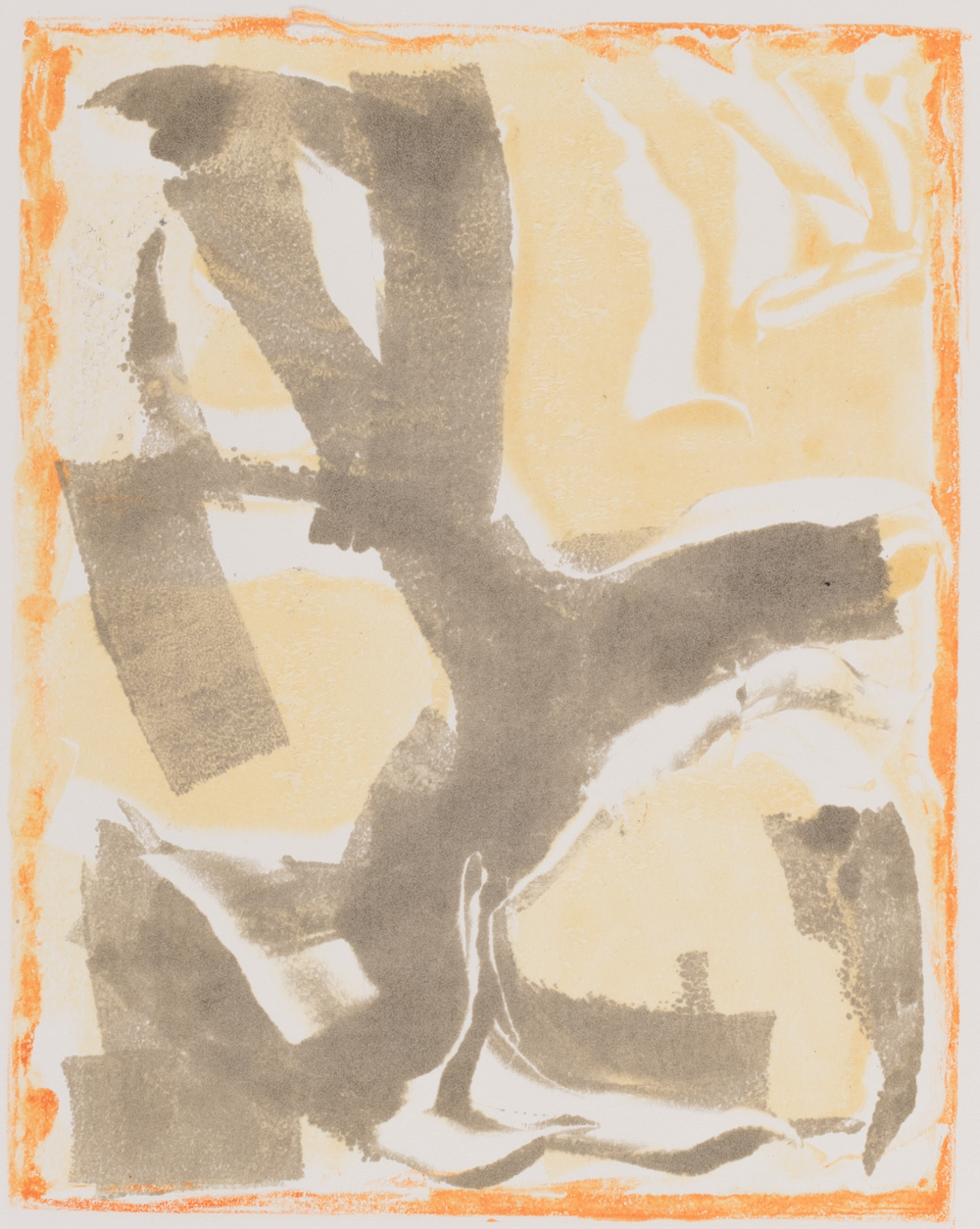 "Golden tree , monoprint 8 x 10"""