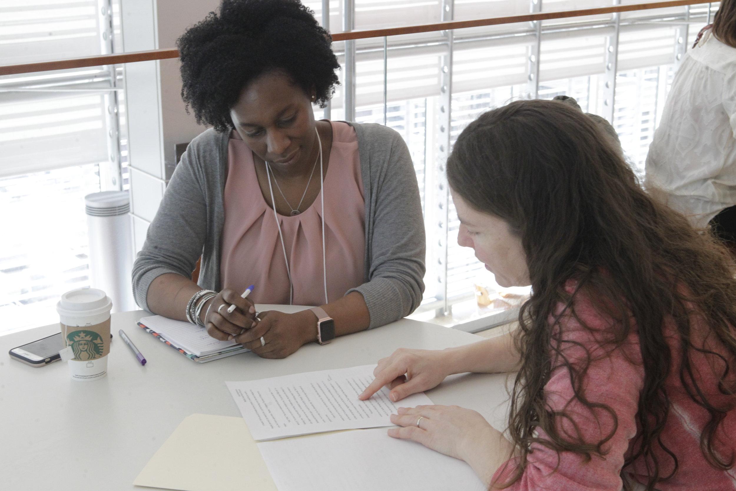 Nancy Mercado, Editorial Director at Scholastic provides manuscript consultation to author Leah Henderson