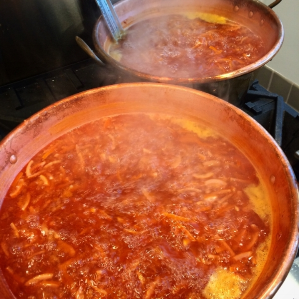 Cooking the marmalade!