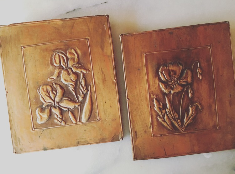 Circa 1960's copper print plates used to transfer floral designs via ink onto paper.
