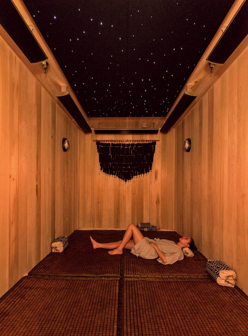 Photo by Miguel Edwards inside Bend's Hottest New Secret: Anjou Spa's Hot Sand Sauna Room.