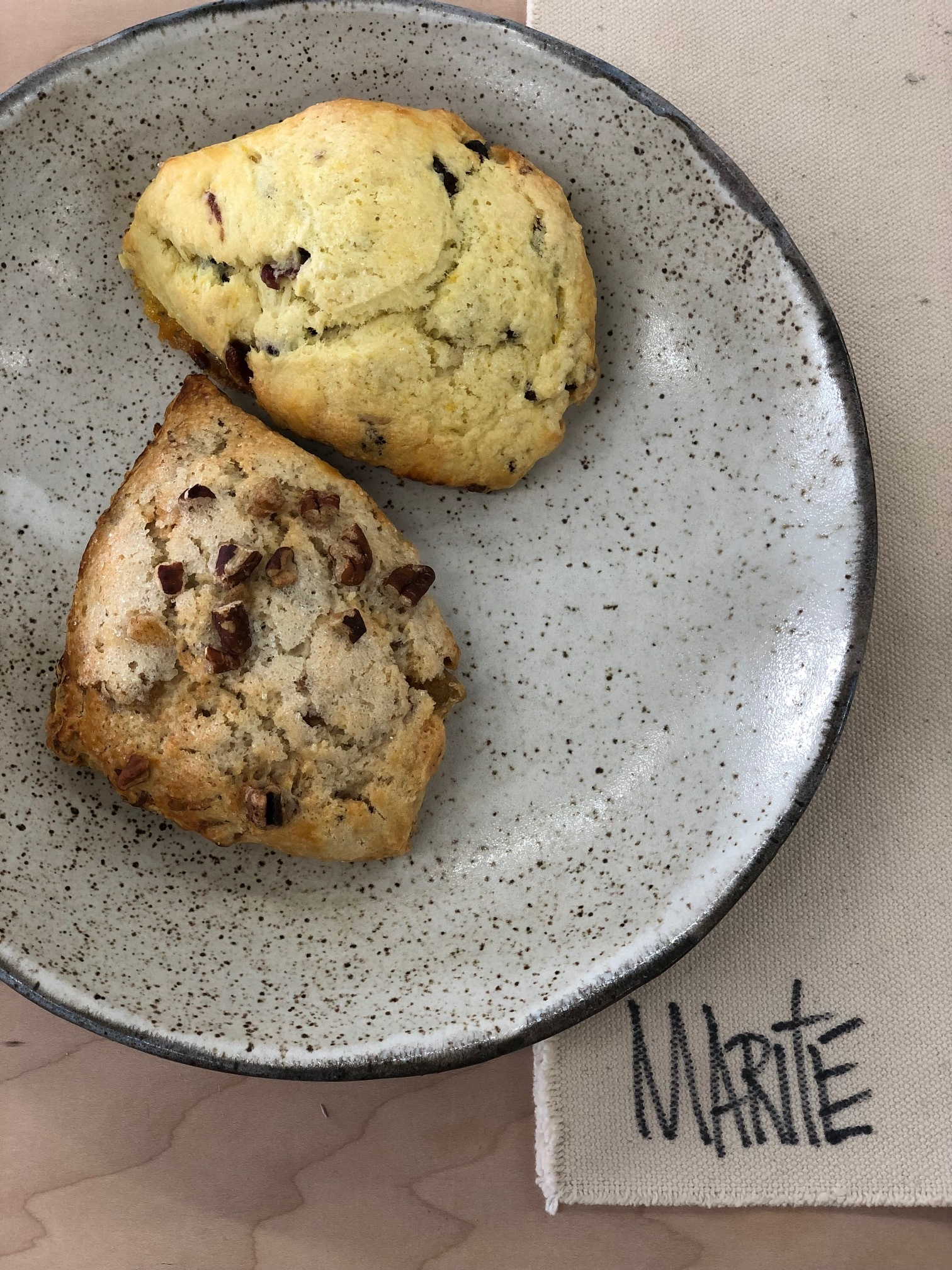 The fresh (and delicious) scones served in her bowl during our Make(Her) Q&A Conversation.