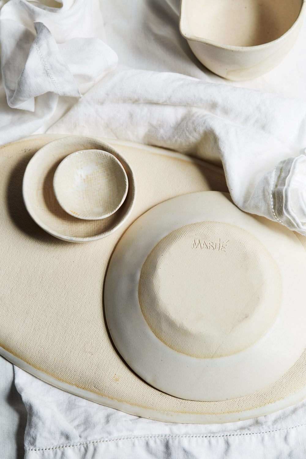 Marité's infamous style textured handmade pottery. Photo by Matité Acosta