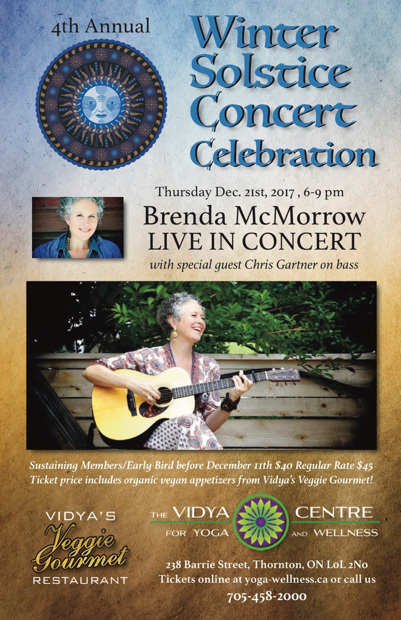 Fill your belly with delicious appetizers from Vidya's, and fill your heart with the beautiful sounds of Brenda McMorrow and her bassist Chris Gartner! We are excited. Come hungry and enjoy the good vibes here at Vidya's.   Email  for questions  Scroll down to purchase your tickets and to  learn more about Brenda!