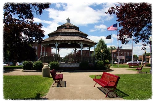 The gazebo serves as the centerpiece of the historic town square.