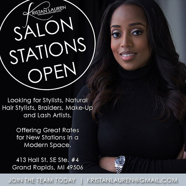 So excited about my ** New Location in Grand Rapids **!!! If you interested in securing a salon station  please email me at kristanlauren@gmail.com looking for Hairstylist, Natural Stylist, Make - Up Artist and Braiders. #KristanLauren #Stylist #Entrepreneur #GrandRapids #Chicago
