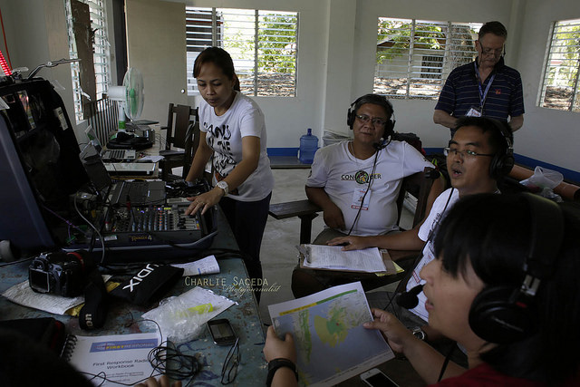Trainees on air at the field trial.