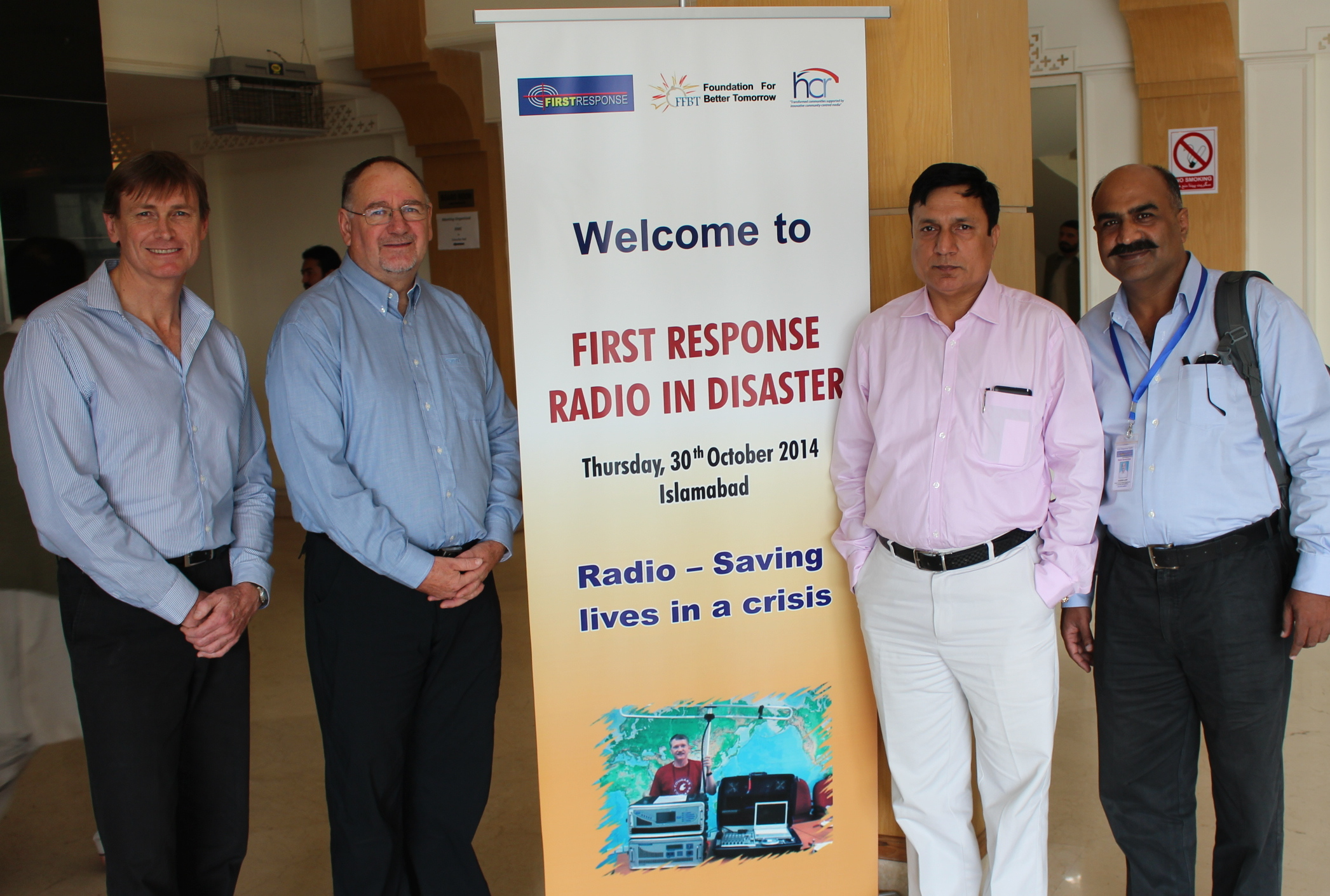 HCR's Jon Hargreaves, Ross James and Hazeen Latif with Shaikh Wasim Ahmed, CEO of FFTB