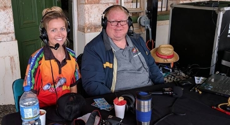 Barry from Radio MAMA, and Celeste broadcasting at the Yalgoo Emu Cup.