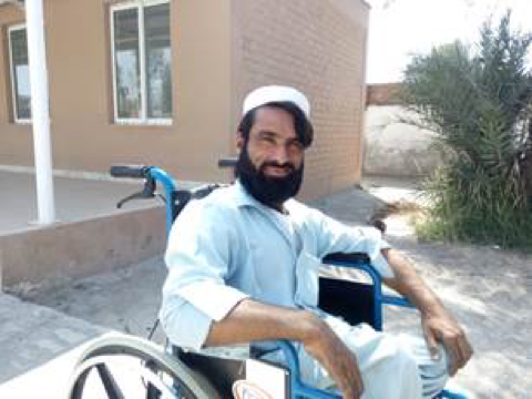 Sahib Gul in June 2017, after receiving his wheelchair
