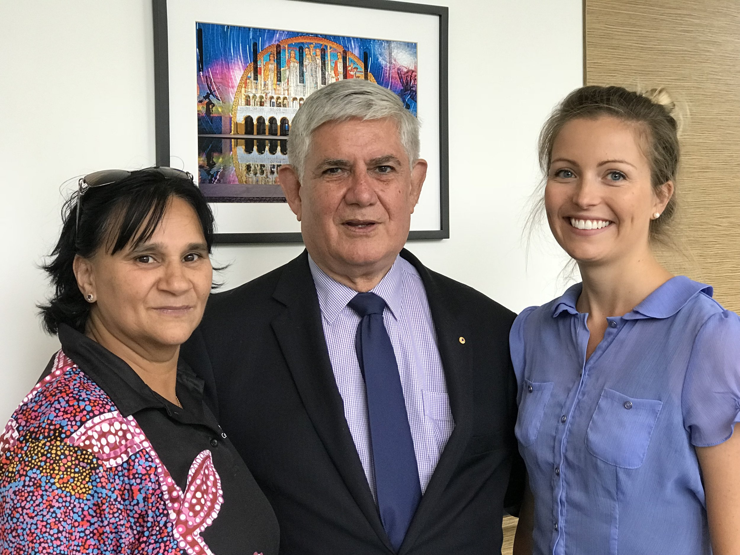 Left to right: Lenny Papertalk from WACRH, Minister Ken Wyatt and Celeste Larkins