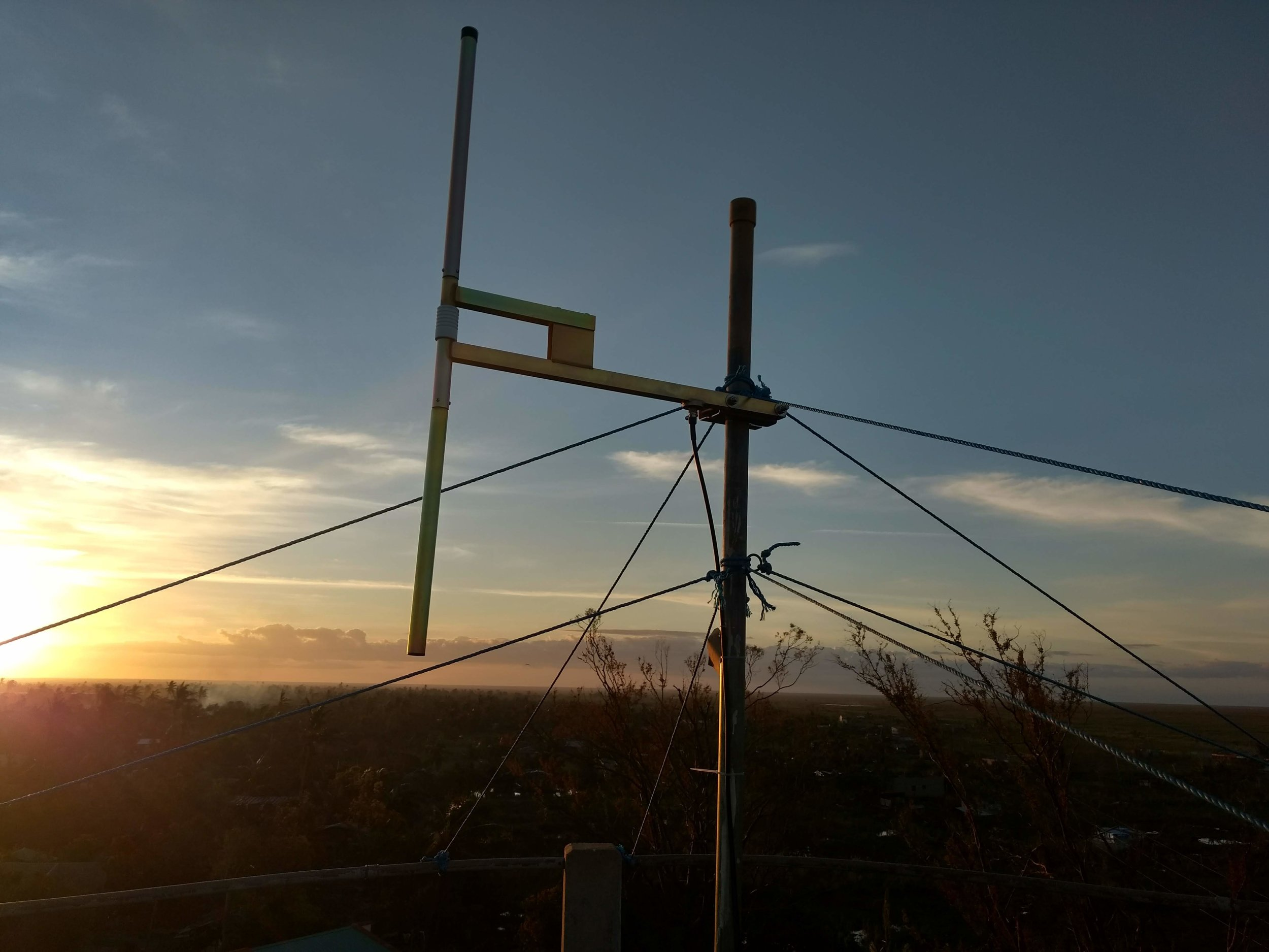 Buzi FM antenna on water tower. Buzi. March 2019. (Photo credit: HCR)