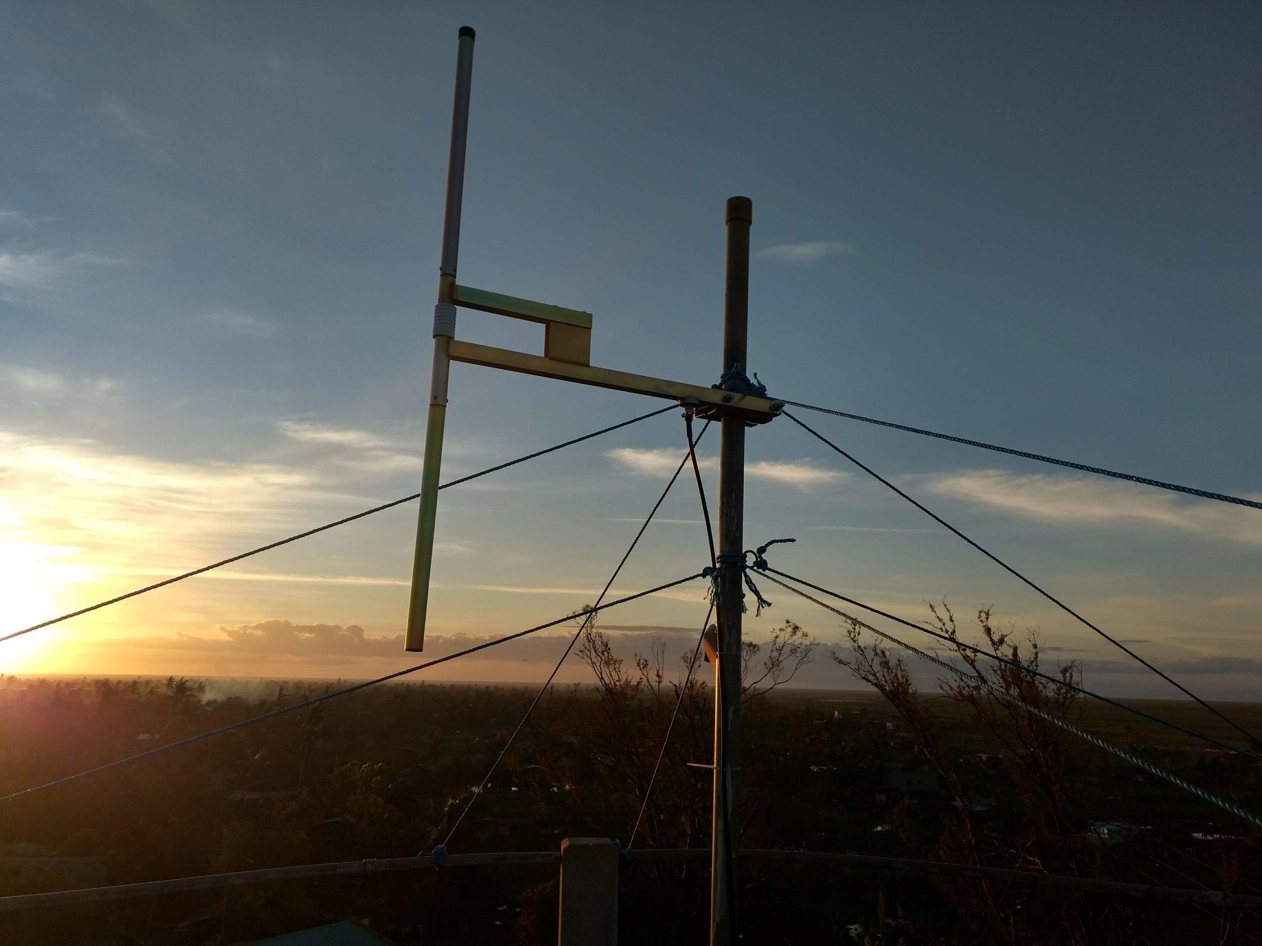 Buzi FM antenna on water tower. Buzi. March 2019. (Photo credit: HCR)