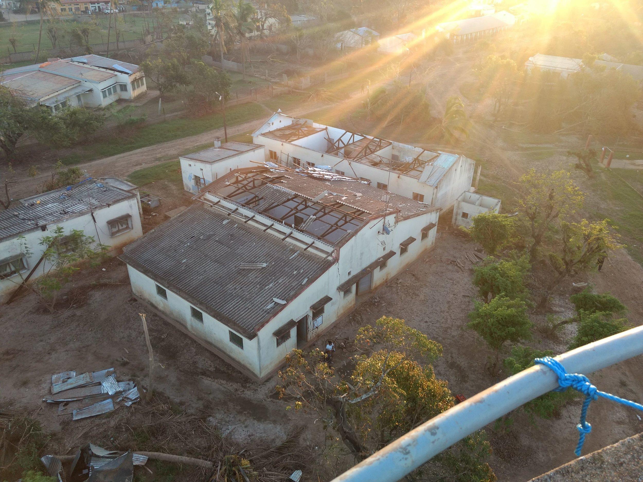 Storm damaged cultural centre provides temporary studio location for Buzi FM, March 2019.