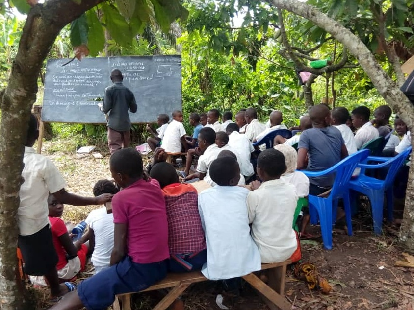 Makeshift classrooms have been set up to provide education and some stability for displaced children