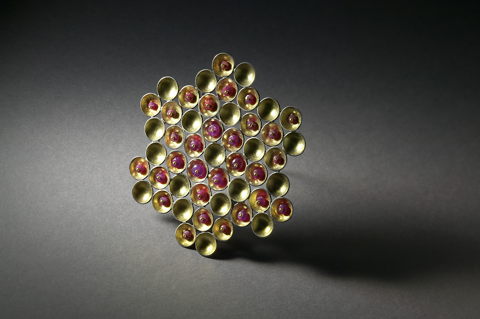 Ruby Honeycomb Brooch