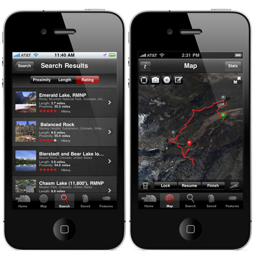 North Face Trailhead app for the iPhone
