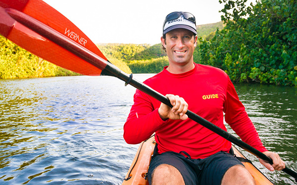 An expert kayaker, Aaron Martin and his staff lead tours of the Wailua River and other locations on Kauai.