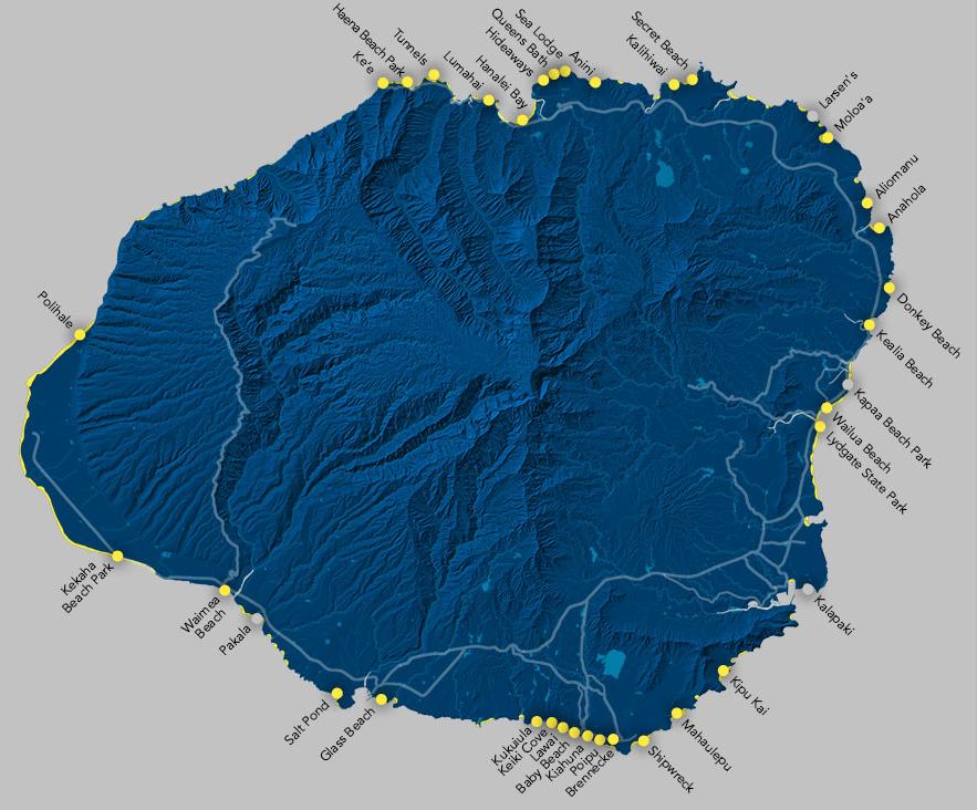 Map of the principal beaches of Kauai. Source:  The Parrish Collection Kauai.