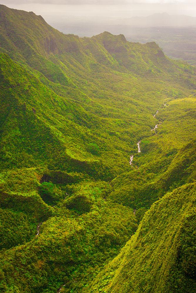 Kauai's green mountains