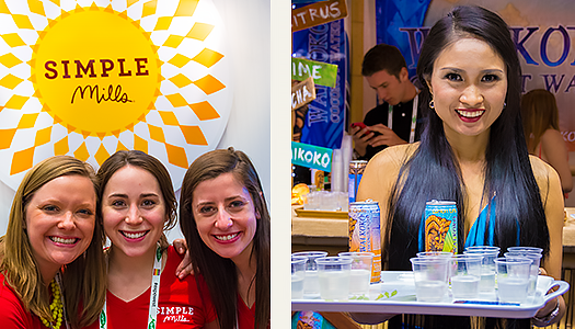 We'll let you in on a secret: healthy people are happy people. A look at the genuine smiles we got at the Simple Mills and Wai Koko Coconut Water booths are typicalof the warm welcome we received. There's a lesson here, folks.