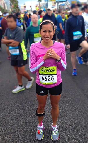 Cheryl awaiting the start of the Las Vegas Marathon.