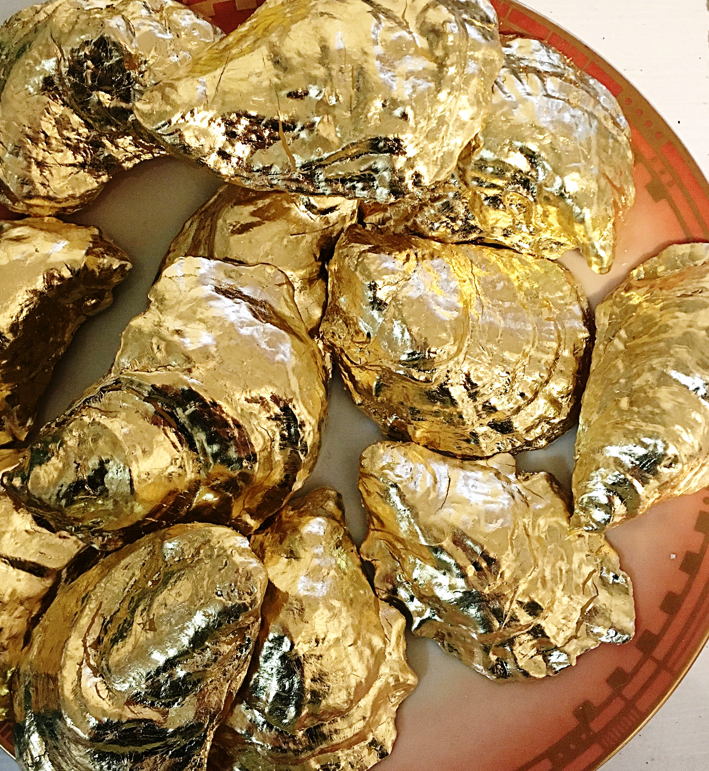 """Classic Oysters """"Rockefeller""""  gold leafed assortment of Little Guns, Irish Points, St. Simons and Rocky Nook on Rouge (Sasaki designed by  Paula Zanger ). Gilded Age of Sustainability. #BOP"""