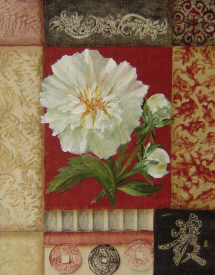 White Peony on Red