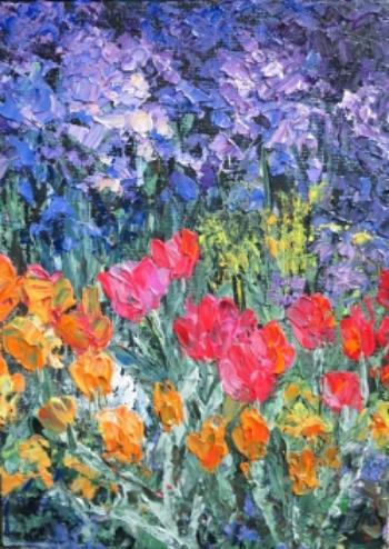 """""""Phlox and Tulips"""" 7"""" x 5"""" acrylic on panel"""