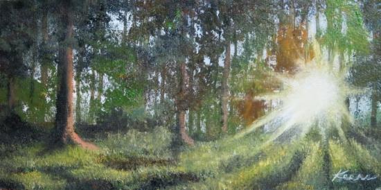 """Sunlit Woods""  4""x 8"" Oil on paper panel  $50"